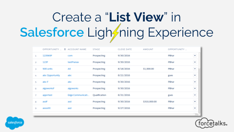 Create a List View in Salesforce Lightning Experience
